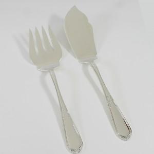 Set de tenedor y pala para servir pescado en plata
