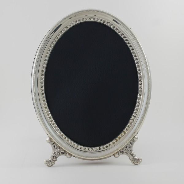 Marco de fotos ovalado de plata con cordón
