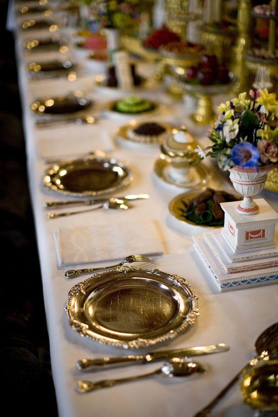salavamantel de plata en mesa